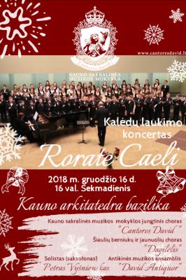 """2018-12-16 16.00 val. Šv. Kalėdų laukimo koncertas """"Rorate Caeli"""""""