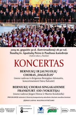 """30-05-2019 18:30 """"Dagilėlis"""" and Boys' Choir Singakademie Frankfurt /Od concert"""