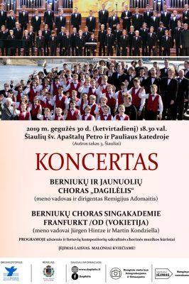 """2019-05-30 18.30 val. """"Dagilėlio"""" ir berniukų choro Singakademie Frankfurt /Od koncertas"""
