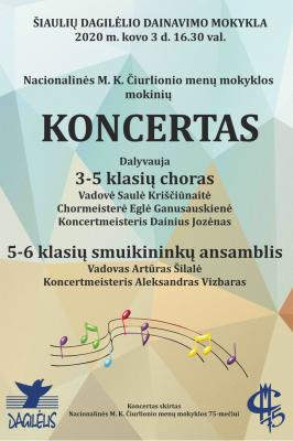 2020-03-03 16.30 val. Nacionalinės M. K. Čiurlionio menų mokyklos mokinių koncertas