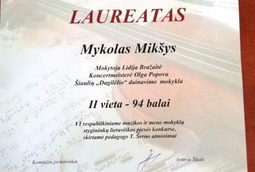 LIDIJOS BRAŽAITĖS MOKINYS – II VIETOS LAUREATAS